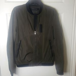 Zara Man Olive Green Utility Bomber Jacket medium